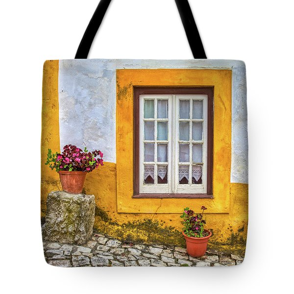 Tote Bag featuring the photograph Yellow Window Of Obidos by David Letts