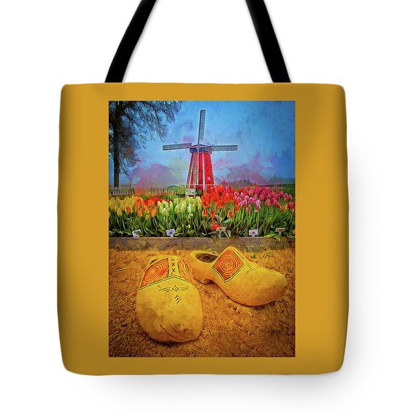 Yellow Wooden Shoes Tote Bag
