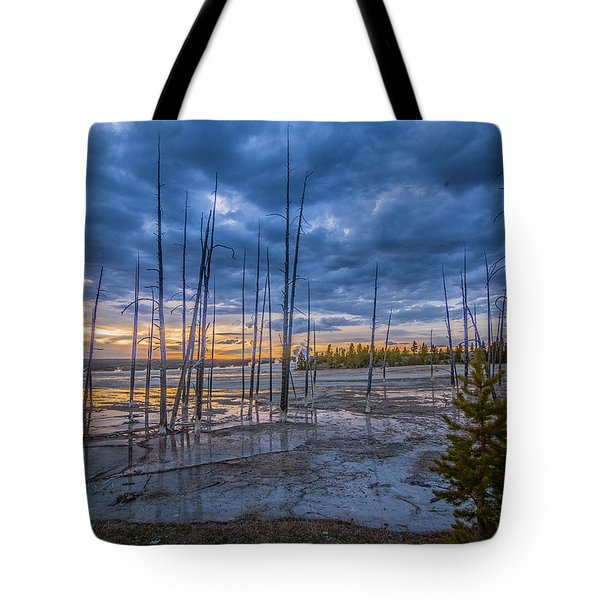 Tote Bag featuring the photograph Yellowstone At Sunset - Lower Geyser Basin by Matthew Irvin