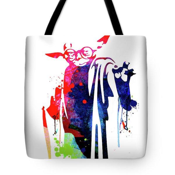 Yoda Wearing Classes Watercolor Tote Bag