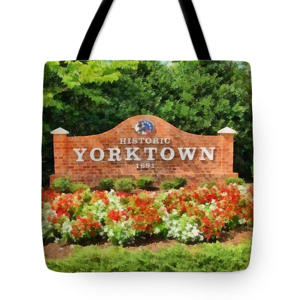 Tote Bag featuring the painting Yorktown Sign by Harry Warrick