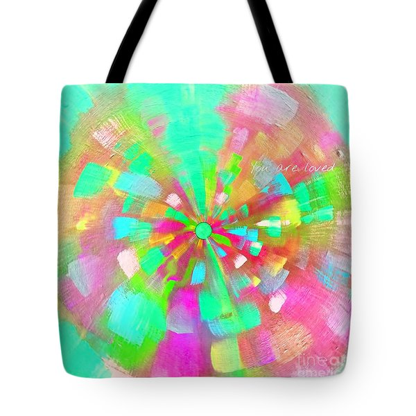 Tote Bag featuring the mixed media  You Are Loved by Jessica Eli