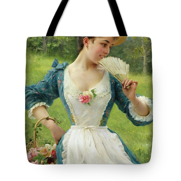 Young Beautiful Woman With A Basket Of Roses Tote Bag