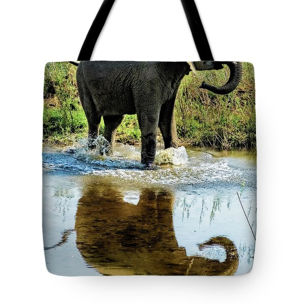 Young Elephant Playing In A Puddle Tote Bag
