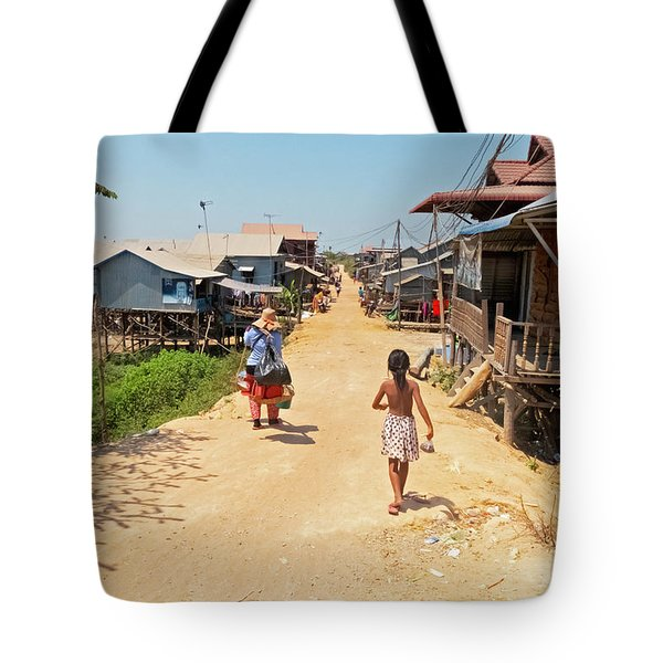 Young Girl Going Home - House On Stilts - Siem Reap, Cambodia Tote Bag