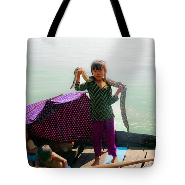 Young Girl With Snake , Cambodia Tote Bag