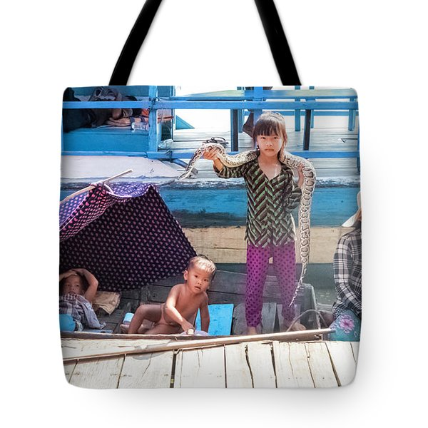 Young Girl With Snake 1, Cambodia Tote Bag