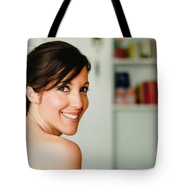 Young Woman From Behind Smiling Tote Bag