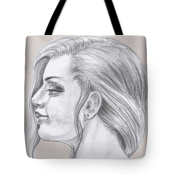 Young Woman Head Study Profile Tote Bag