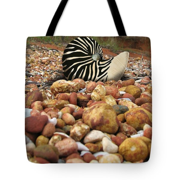 Zebra Nautilus Shell On Bauxite Beach Tote Bag