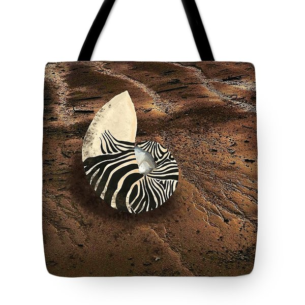 Zebra Nautilus Shell On The Sand Tote Bag