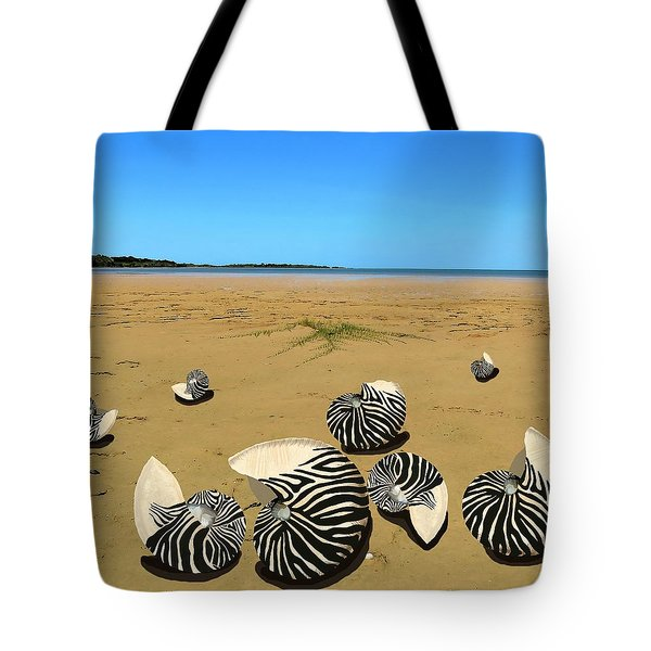 Zebra Nautilus Shells On The Beach  Tote Bag