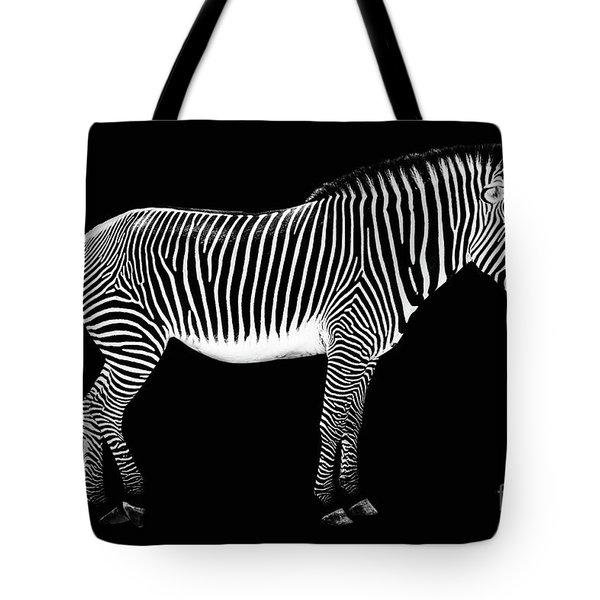 Zebra On Black Background Tote Bag