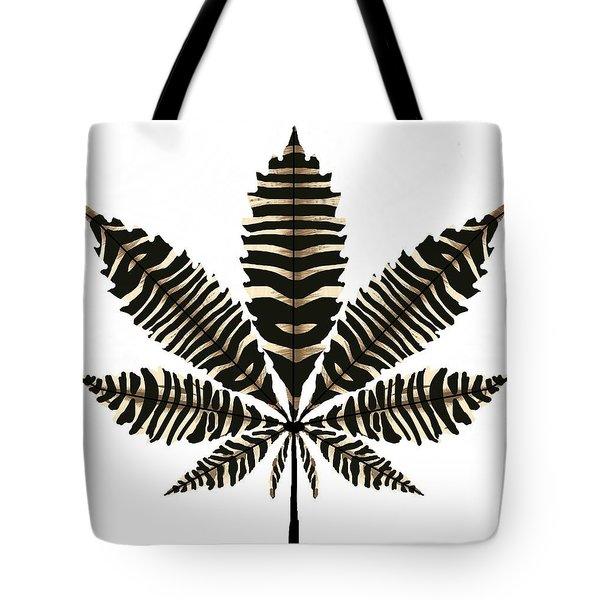 Zebra Pattern Marijuana Leaf 2 Tote Bag