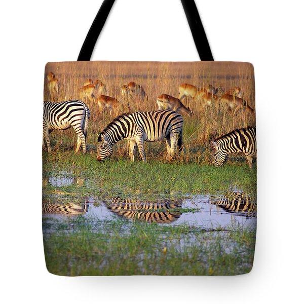 Zebras In Botswana Tote Bag