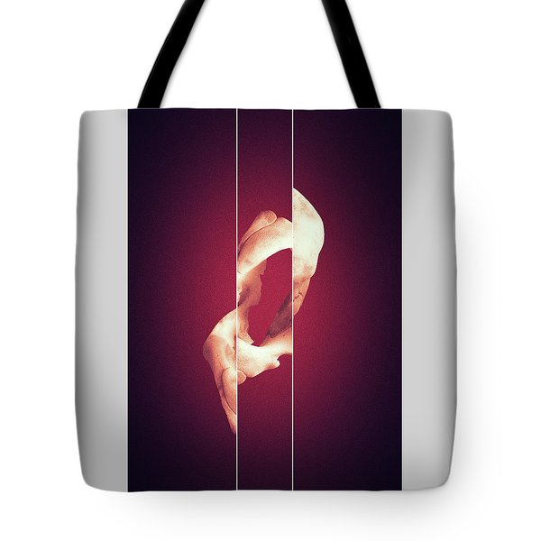 Zero - Surreal Abstract Elephant Bone Collage With Lines Tote Bag