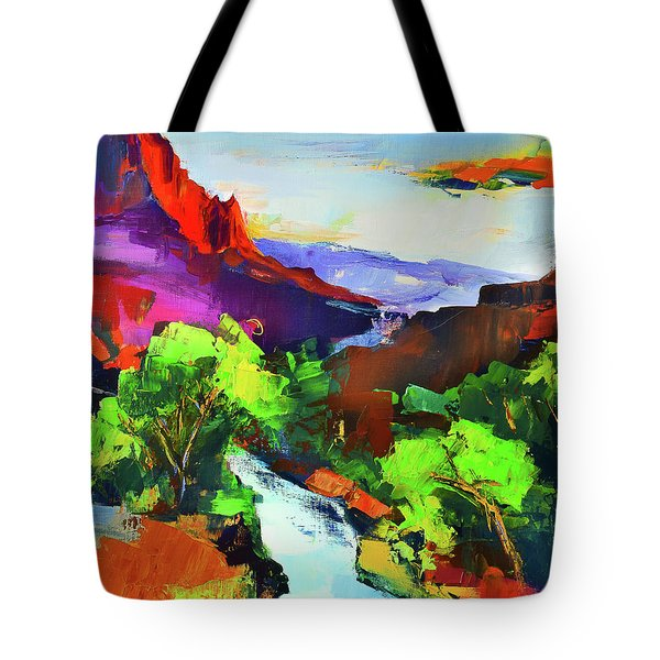 Zion - The Watchman And The Virgin River Tote Bag