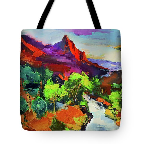 Zion - The Watchman And The Virgin River Vista Tote Bag