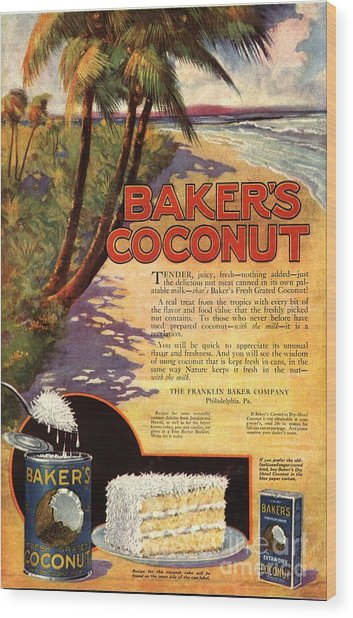 1910s Usa Bakers Coconuts Cakes Baking Wood Print by The Advertising Archives