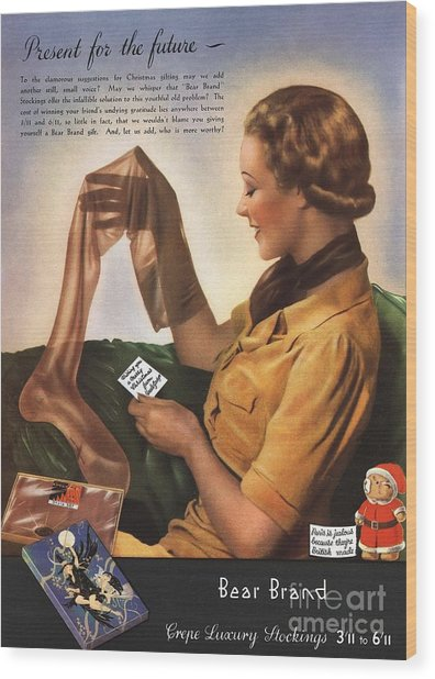1930s Uk Bear Brand Crepe Luxury Wood Print by The Advertising Archives