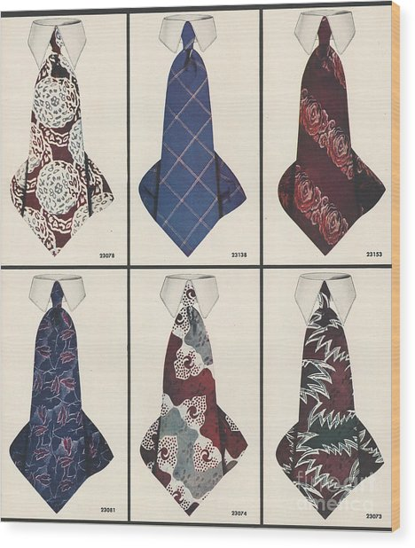 1940s Usa Mens Ties Wood Print by The Advertising Archives
