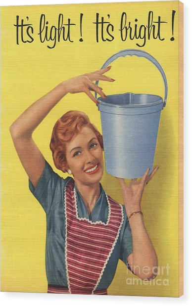 1950s Uk Housewife Housewives Buckets Wood Print by The Advertising Archives