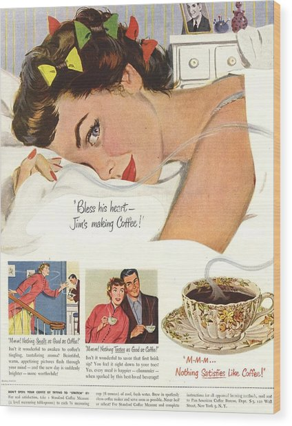 1950s Usa Sleep Sleeping Coffee Smell Wood Print by The Advertising Archives
