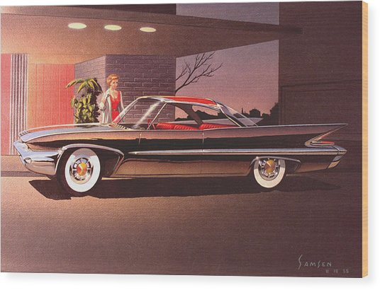 1960 Desoto Classic Styling Design Concept Rendering Sketch Wood Print by John Samsen
