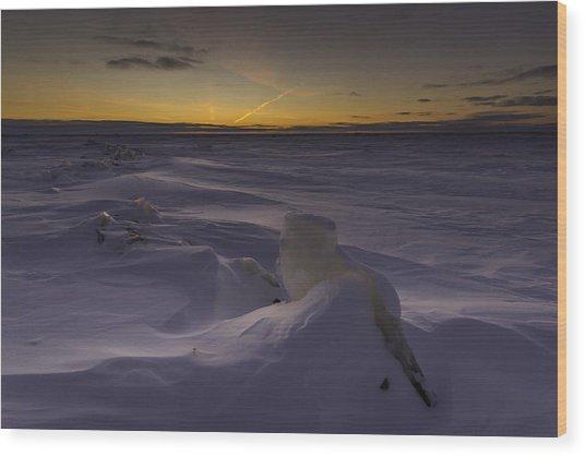 -25 Freezing Sunset Wood Print
