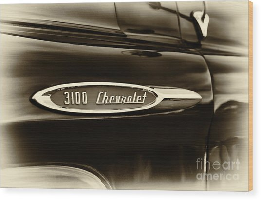 3100 Chevrolet Truck Sepia Wood Print by Tim Gainey
