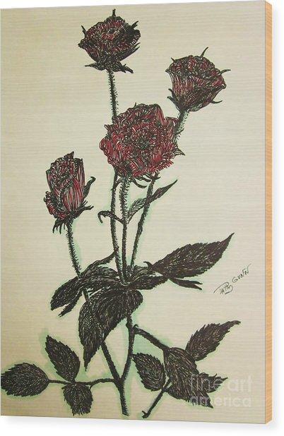 A Garden Rose Wood Print