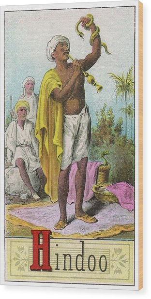 A Hindu Snake Charmer Wood Print by Mary Evans Picture Library
