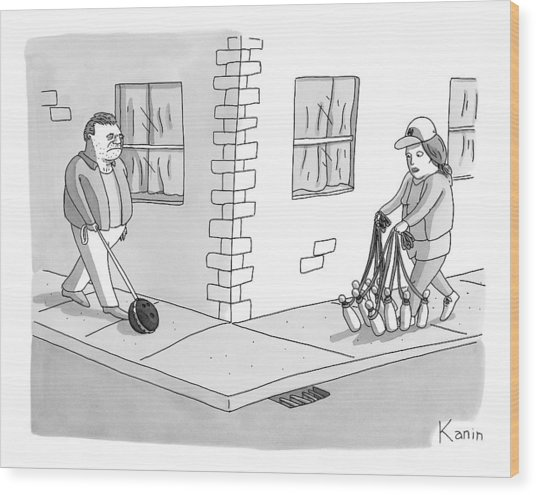 A Man With A Bowling Ball On A Leash And A Woman Wood Print