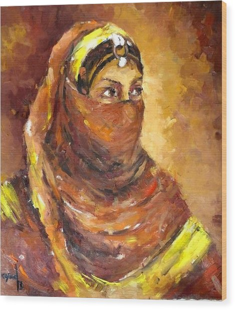 A Woman Wood Print by Negoud Dahab