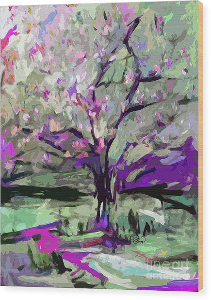 Abstract Art Tree In Bloom By Ginette Wood Print