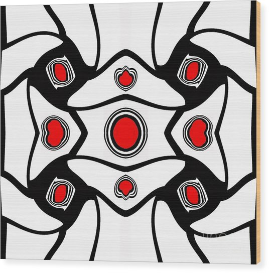 Abstract Geometric Black White Red Art No. 380. Wood Print by Drinka Mercep