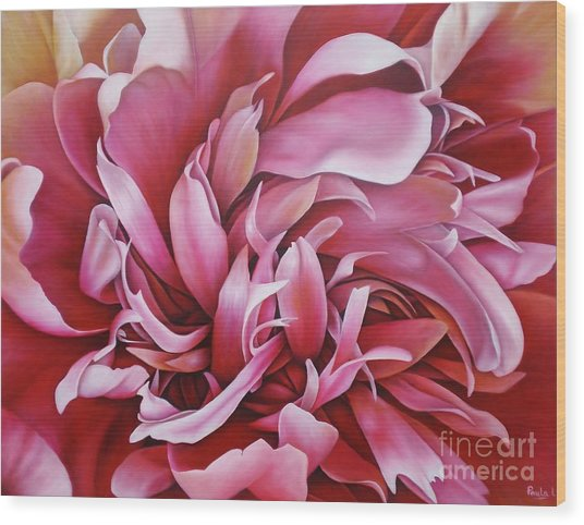 Abstract Peony Wood Print