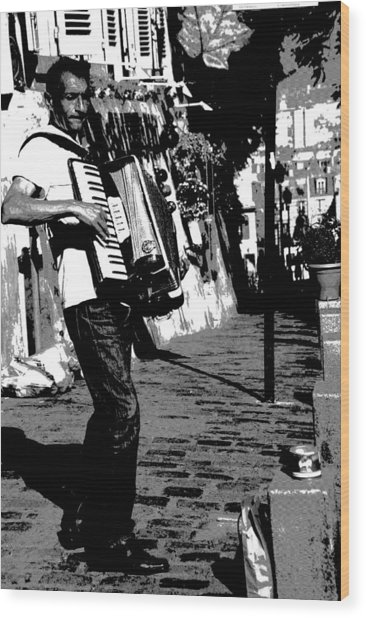 Accordioniste Wood Print