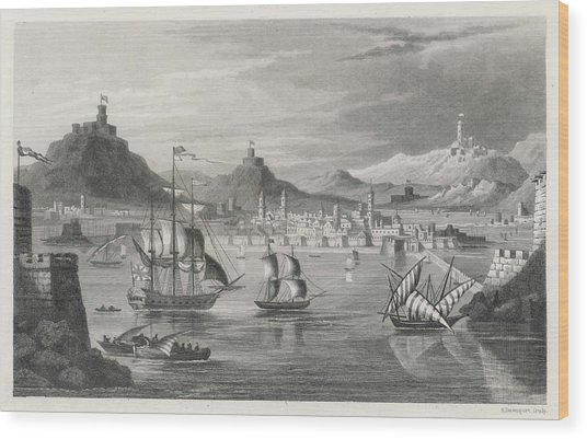 Algiers  Viewed From The Sea Wood Print by Mary Evans Picture Library