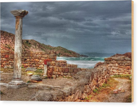 Ancient Ruins In Kefalos Kos Greece Wood Print
