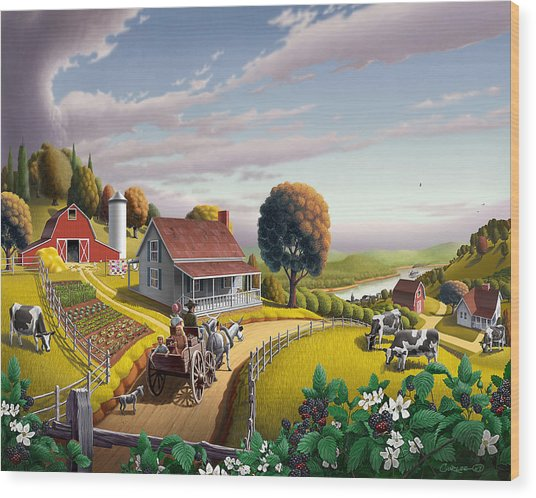 Appalachian Blackberry Patch Rustic Country Farm Folk Art Landscape - Rural Americana - Peaceful Wood Print