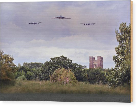 Avro Trio Over Tattershall Castle Wood Print