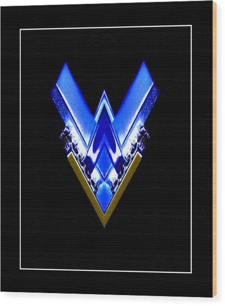 Blue Arrow Wood Print