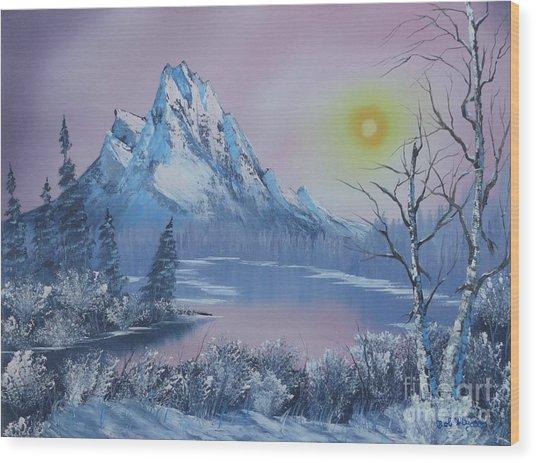Blue Winter's Sunglow  Wood Print