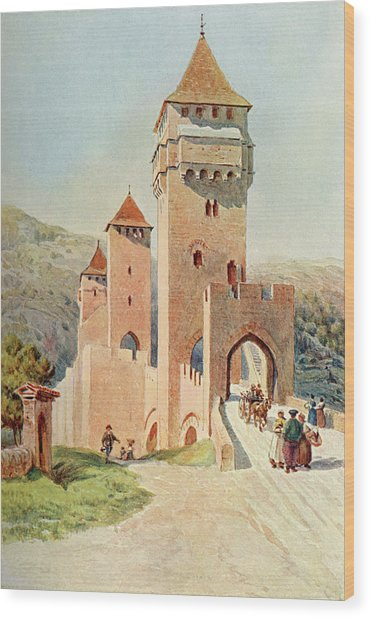 Cahors  Pont Valentre        Date 1904 Wood Print by Mary Evans Picture Library