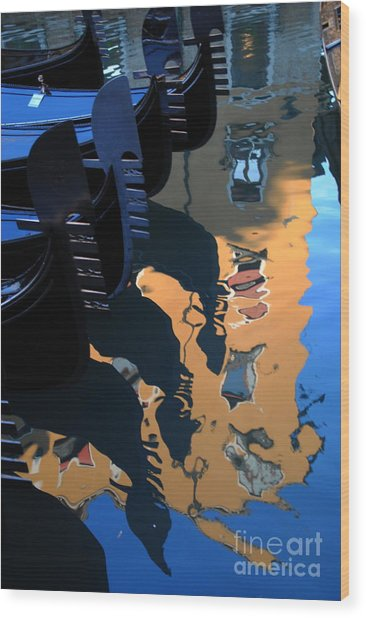 Canal Shimmer Wood Print by Jacqueline M Lewis