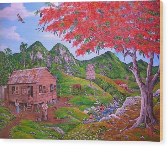 Casita De Campo Wood Print by Jose Lugo