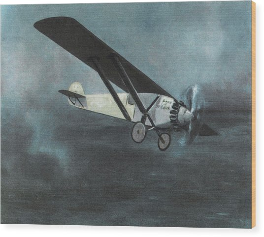 Charles Lindbergh Is The First  To Fly Wood Print by Mary Evans Picture Library
