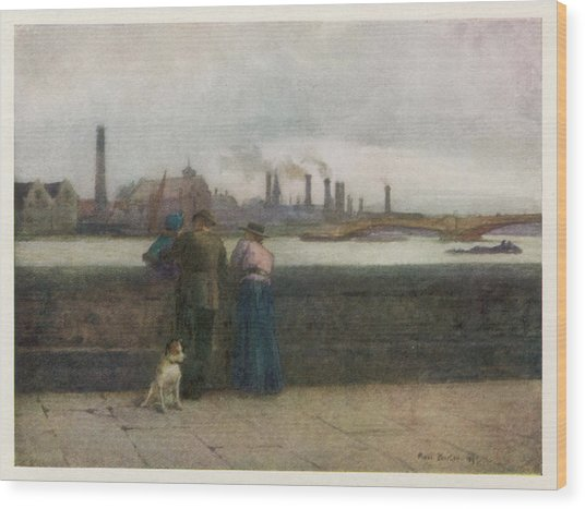 Chelsea Embankment On A Grey Day Wood Print by Mary Evans Picture Library