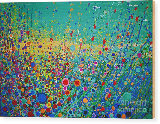 Colorful Flowerscape Wood Print